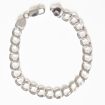 Image Sterling Silver Charm Bracelet - 8
