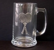 Image Glass Mug with Pewter Racquet Emblem