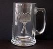 Image Glass Mug with Pewter Racquet Emblem